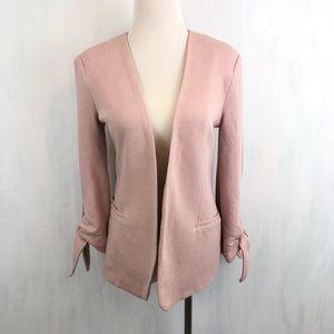 NEW Olivia Moon Tie Sleeve Open Knit Blazer XXS
